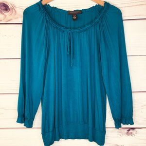 Cable & Gauge Teal Long Sleeve Peasant Blouse
